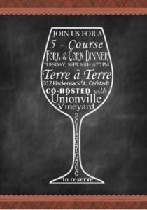 Terre a Terre - Fork & Cork Unionville Vineyards Dinner