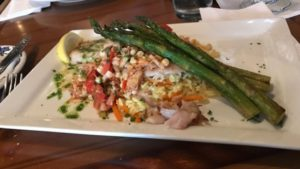 Feby's Fishery - Red Snapper w Crabmeat, Rice Pilaf & Asparagus
