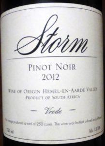Storm SA 2012 Vrede Pinot Noir