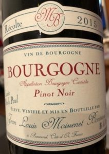 Bourgone Rouge Pinot Noir 2015